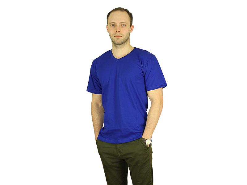 Vyriški marškinėliai (V.kaklu, Mėlyna spalva)