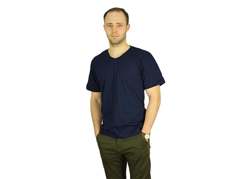 Vyriški marškinėliai (V.kaklu, T.mėlyna spalva)