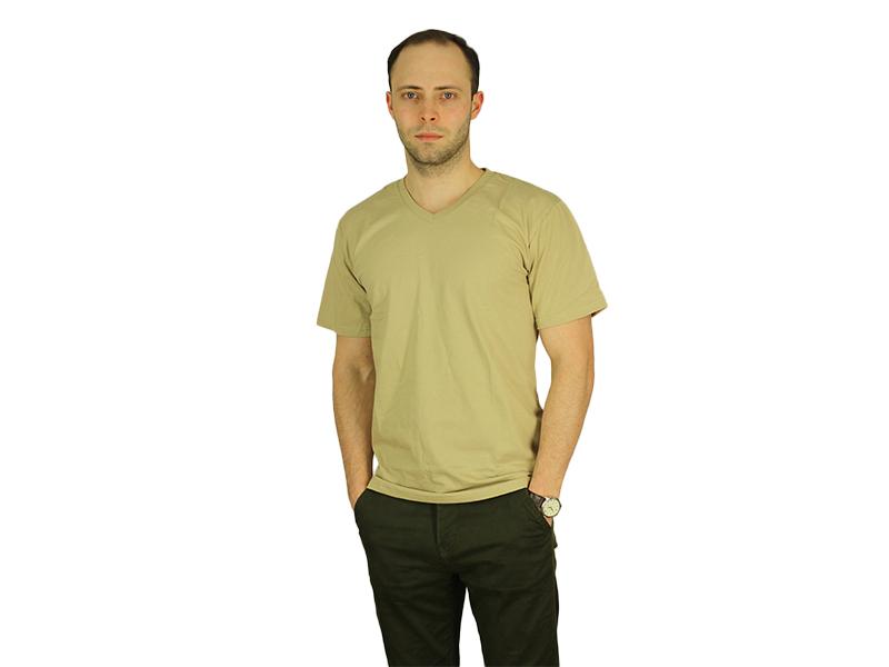 Vyriški marškinėliai (V.kaklu, Smėlinė spalva)