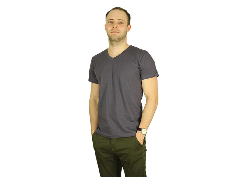 Vyriški marškinėliai (V.kaklu, Asfaltinė spalva)