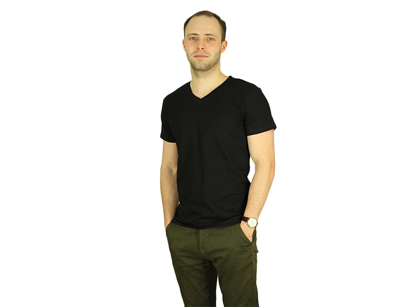 Vyriški marškinėliai (V.kaklu, Juoda spalva)