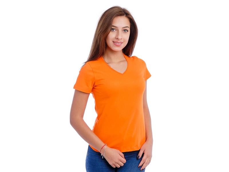 Moteriški marškinėliai  (V.kaklu, Orandžinė spalva)