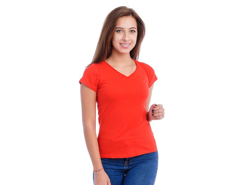 Moteriški marškinėliai  (V.kaklu, Raudona spalva)
